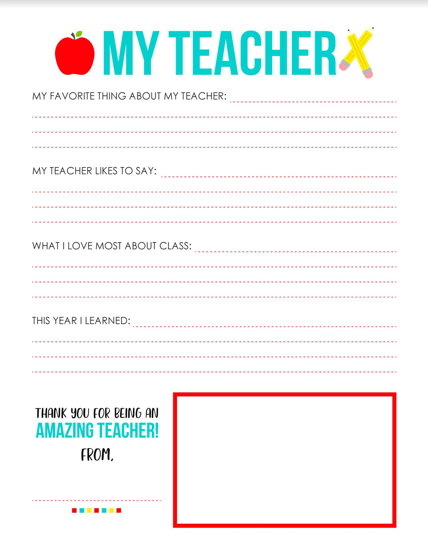 All About My Teacher Printable