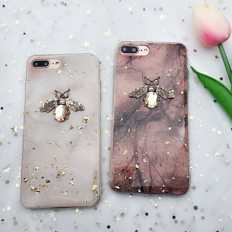 Huawei Bee Marble Gold Foil Glitter Soft Tpu Case Iuzcases Marble Iphone Case Flower Phone Case Iphone Transparent Case
