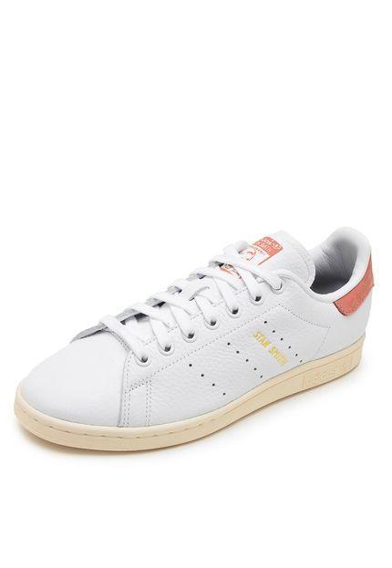 Tênis Couro adidas Originals Stan Smith Branco Rosa  4e37ca76e85fd