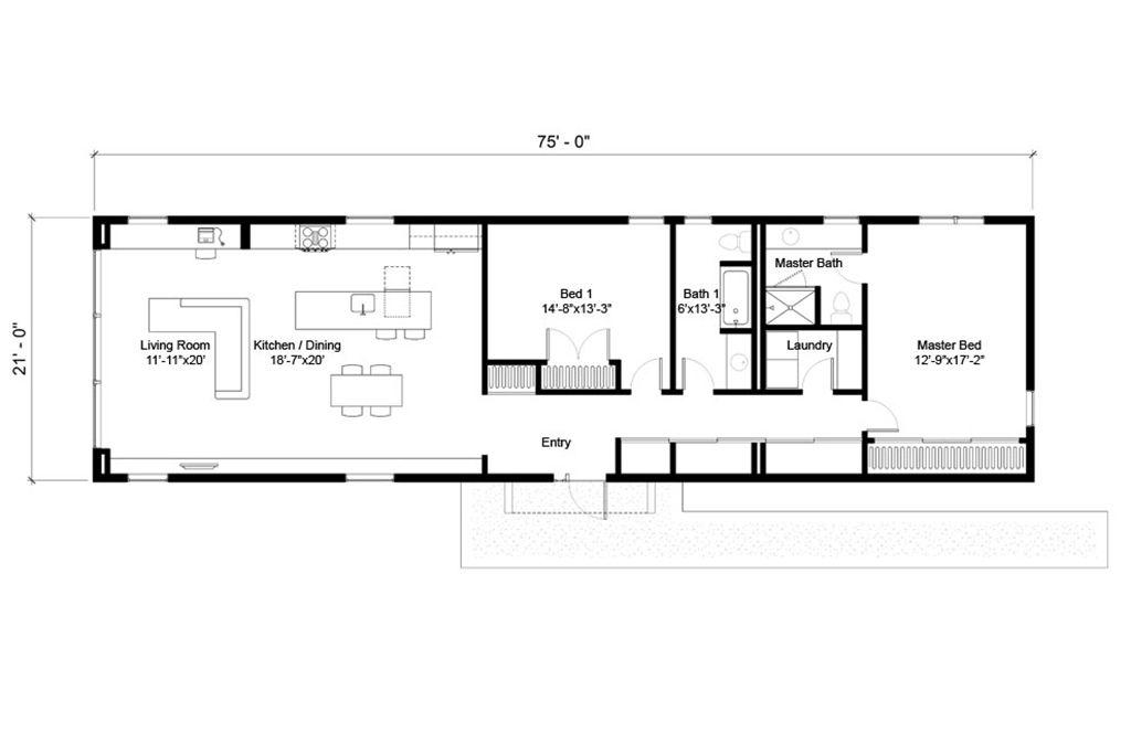 Modern Style House Plan 2 Beds 2 Baths 1575 Sq Ft Plan 497 24 Affordable House Plans Modern Style House Plans House Floor Plans