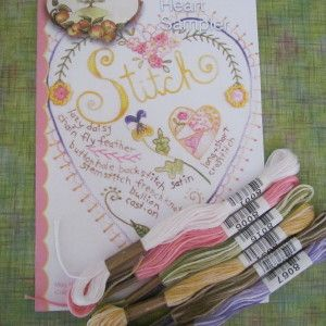 Crabapple Hill Stitch Heart Sampler with Cosmo Floss Pack