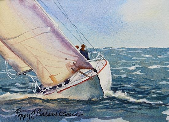 Heeled over by Poppy Balser Watercolor ~ 5 x 7