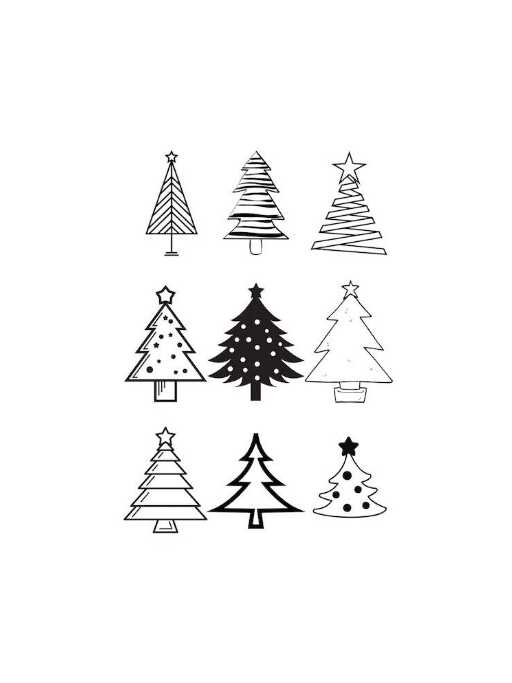 9 Christmas Trees PNG SVG Download Cricut Design Etsy