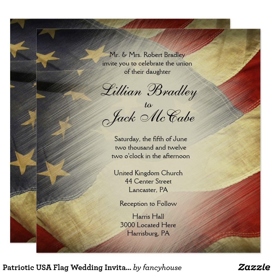 Patriotic USA Flag Wedding Invitations 40% Off #leatherwooddesign ...