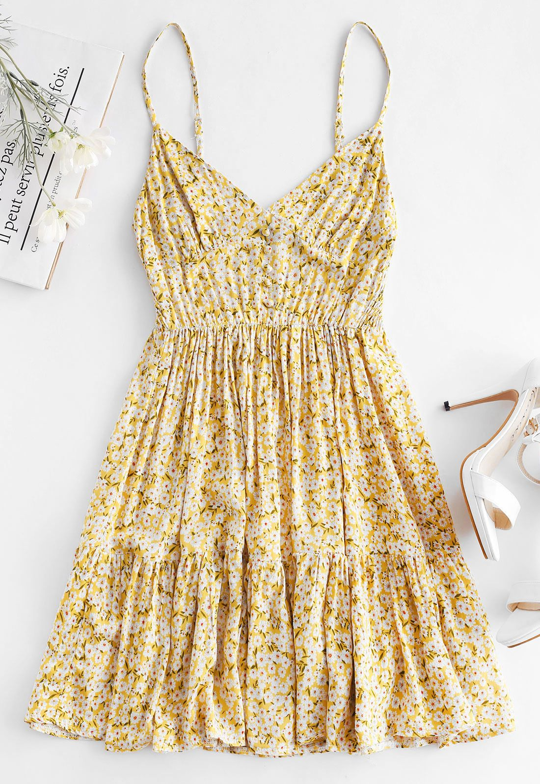 Lemon Yellow Cute Floral Summer Dress #beachvacationclothes