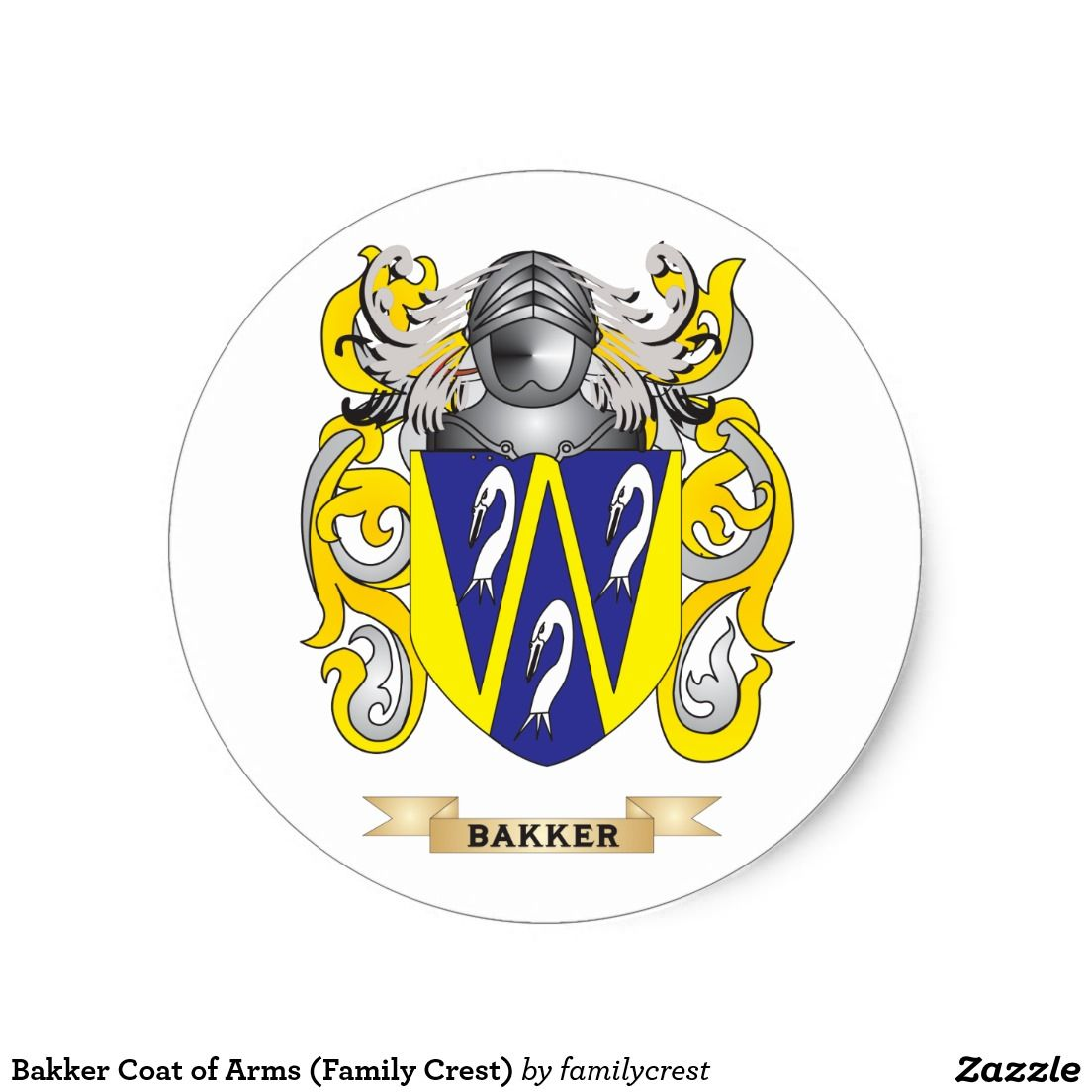 Bakker Coat of Arms (Family Crest) Classic Round Sticker