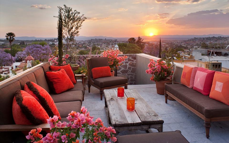 Gorgeous rooftop patio at Casa Acanto in San Miguel de Allende - a Fisher Weisman design.