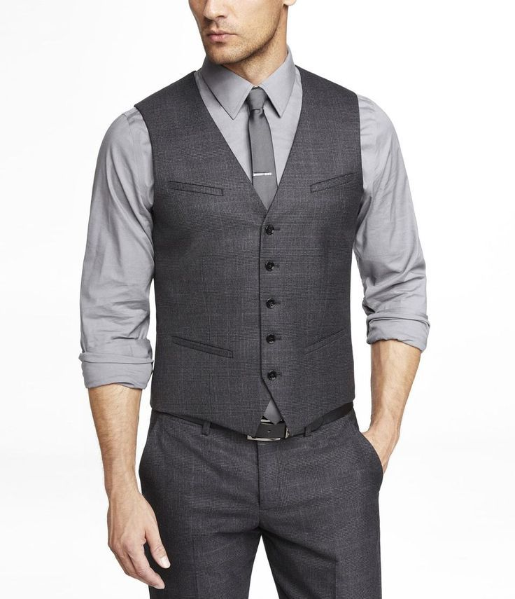 The groomsmen - charcoal pants and vests with a grey shirt (rolled ...