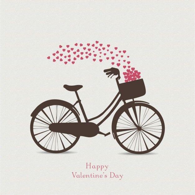 c427dbaf5c74b Fondo para san valentín con una bicicleta Vector Gratis