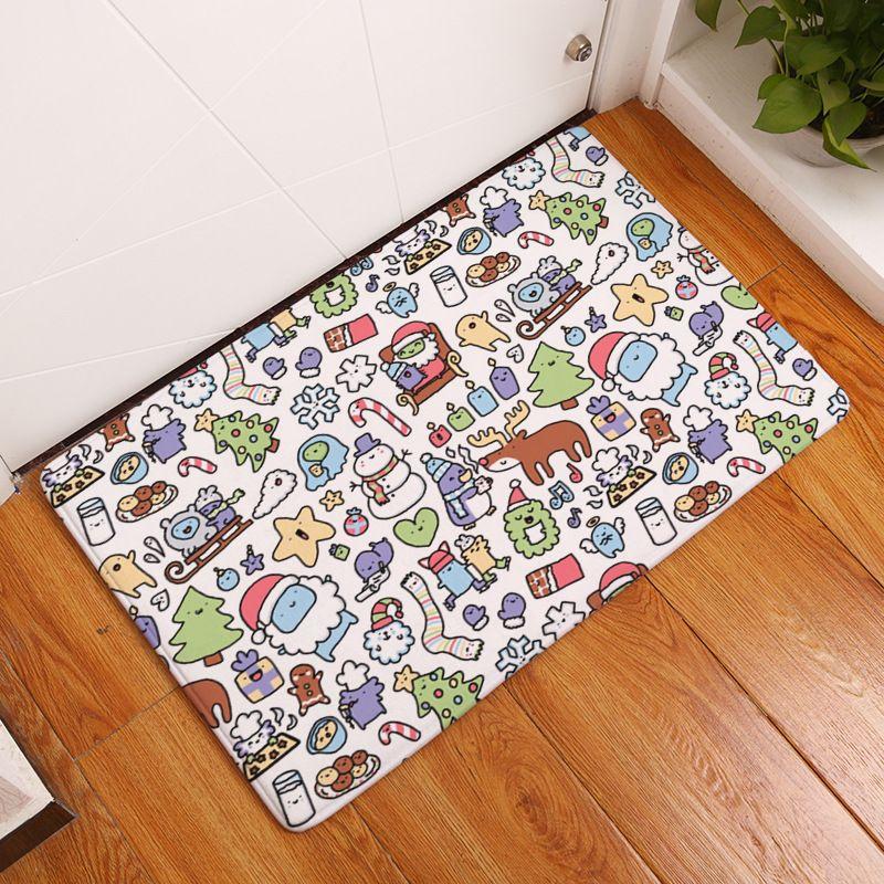 MDCT Merry Christmas Santa Claus Area Carpet Floor Mats Doormats Kids Room  Dense Xmas Cartoon Pattern