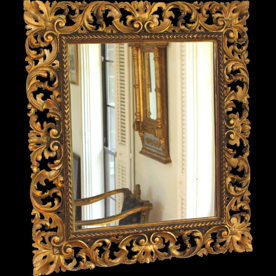 Large antique gilt wood Florentine mirror | Mirror ...