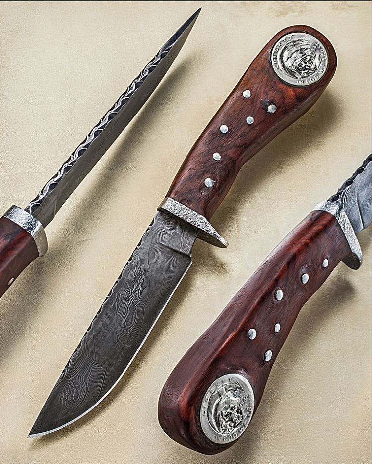 One of MY favorite makers will be coming out to the NYCKS in NJ this weekend. Pete Pruyn (PRINE) makes rustic and captivating handmades. Here he's embedded two skull carved Liberty half dollars with pins into a sturdy handle. Brothersville Knives - https://www.facebook.com/peter.pruyn.3 ____________ NOTE: I do NOT know prices or availability. Please search maker for more info. #knifepics #knifephoto #sharpbycoop #knives #knifenut #knifestagram #knifecommunity #knifeporn #knifecollection…