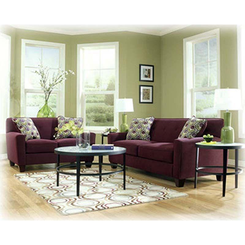 city liquidators danielle eggplant sofa and loveseat love the green walls too furniture. Black Bedroom Furniture Sets. Home Design Ideas