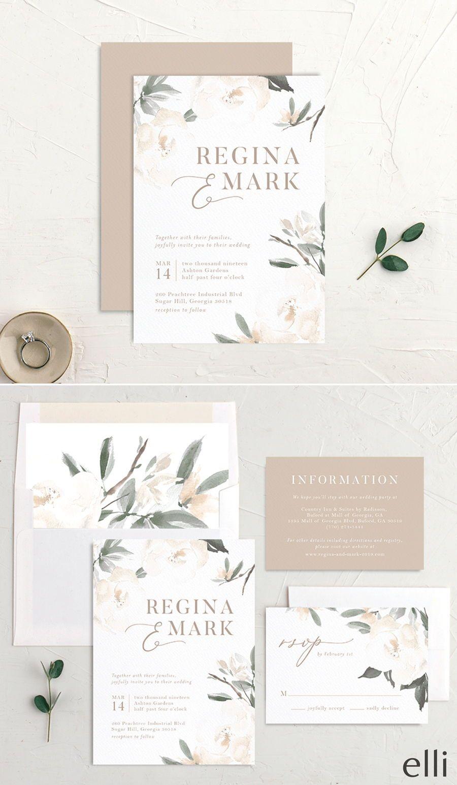 Elegant Garden Wedding Invitations | The Knot