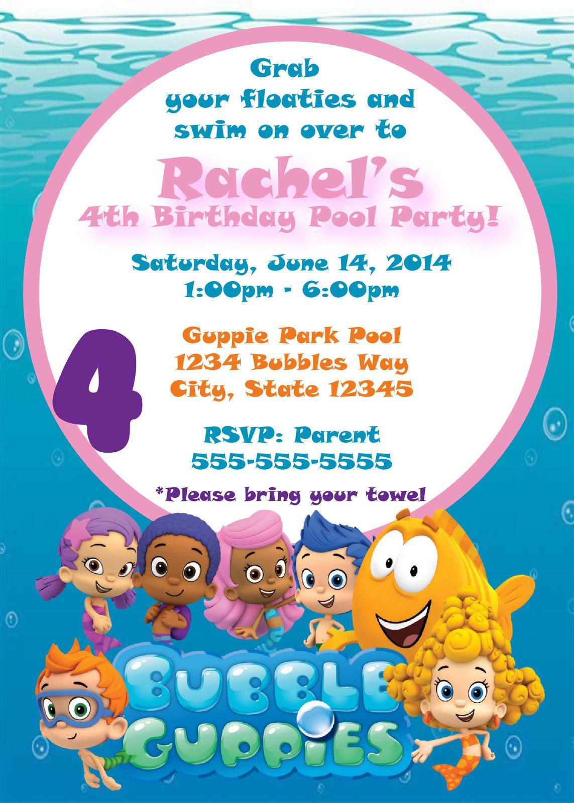 $10 - Bubble Guppies Pool Party Birthday Invite   Pool ...