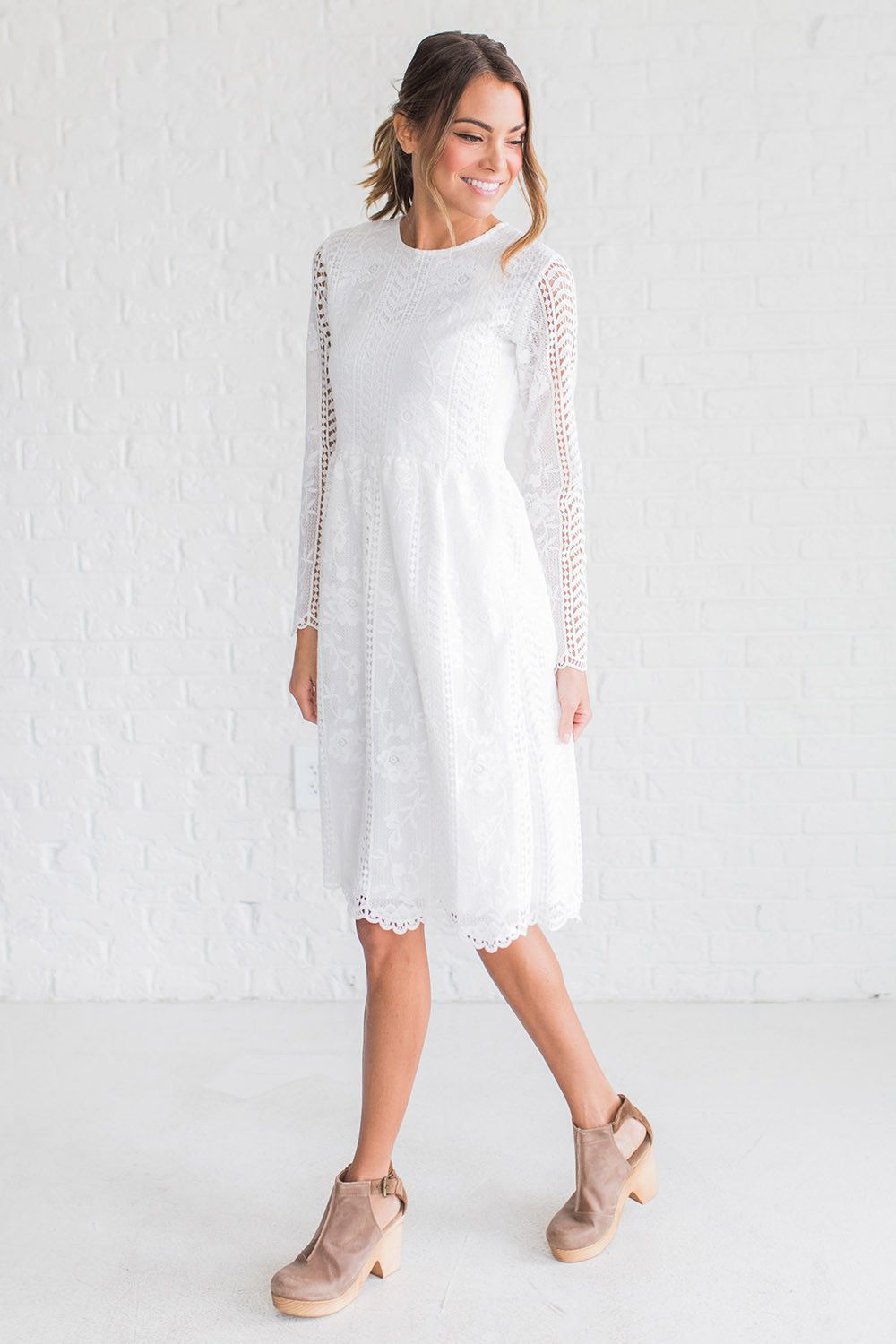 Details long sleeve lace a line dress cinched waist and