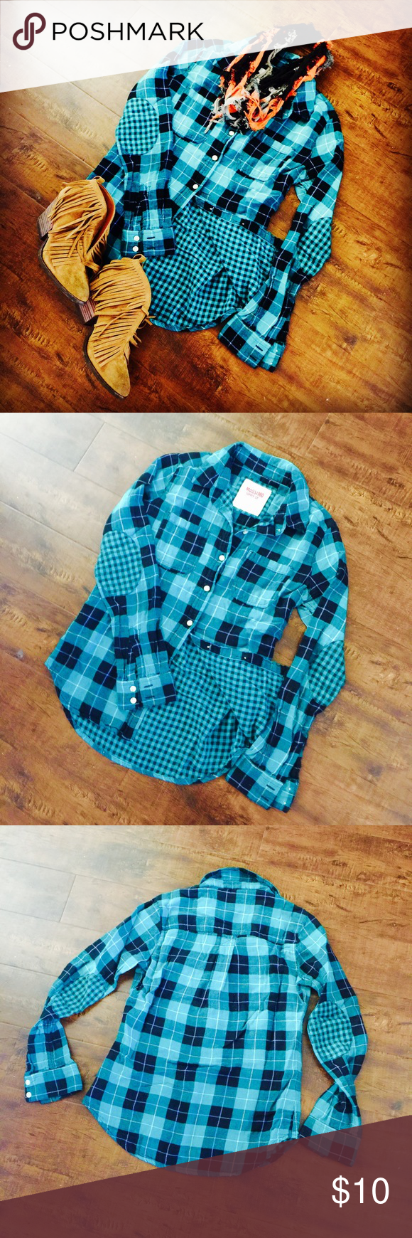 **LIKE NEW* TEAL AND BLACK HIPSTER PLAID SHIRT** This is a Turquoise and black plaid shirt by MOSSIMO with different patterns on inside and elbow patches. Wear as a lightweight jacket or top. Size S/P Smoke-free home **serious offers please**    URBAN OUTFITTERS / ANTHROPOLOGIE / ZARA / H&M Mossimo Supply Co Tops Button Down Shirts