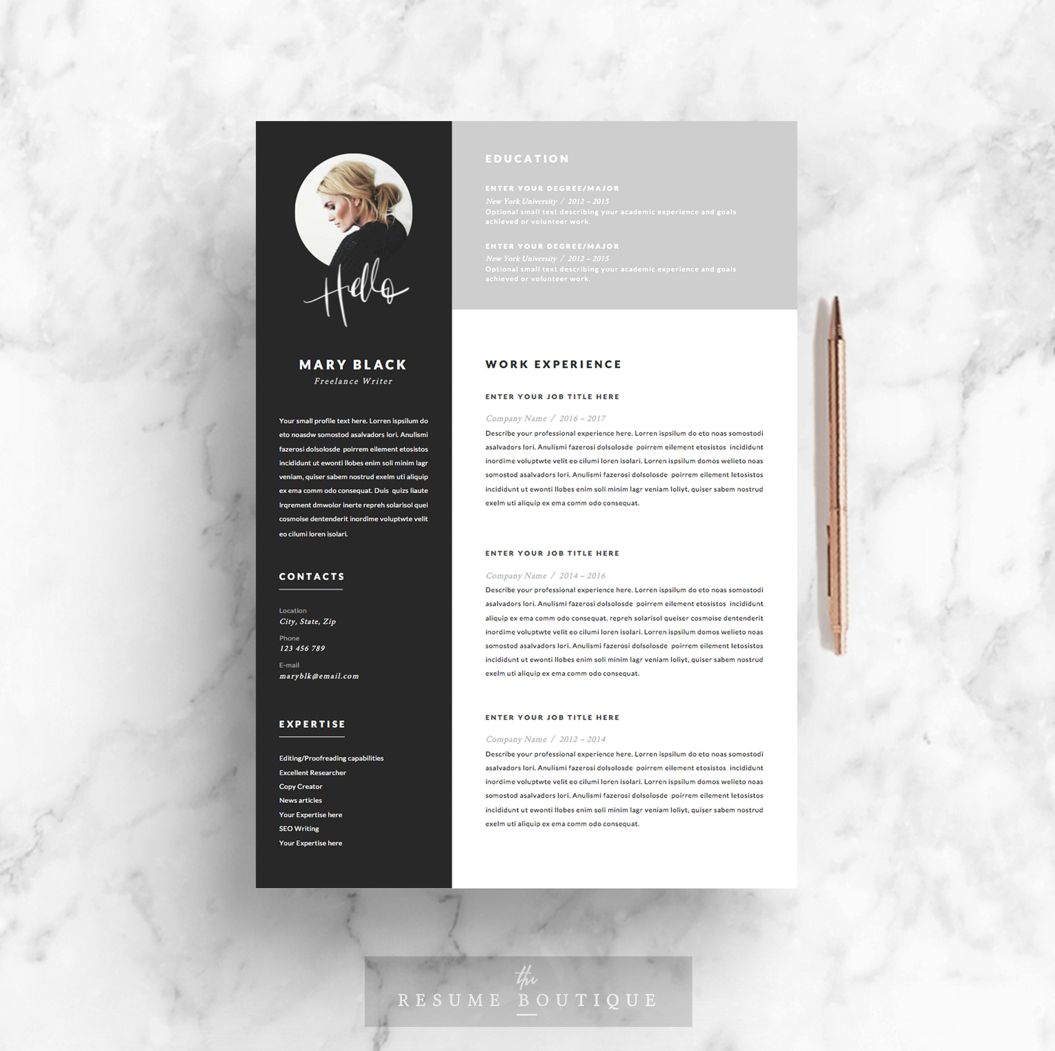 5 page resume template blackie by theresumeboutique on creativemarket - Profesional Resume Format