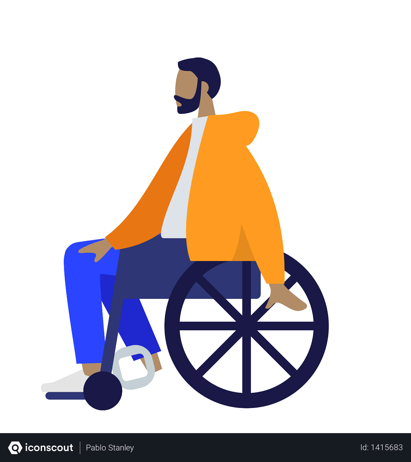 Free Beard Man Sitting On Wheelchair Illustration Download In Png Vector Format Illustration People Illustration Man Illustration