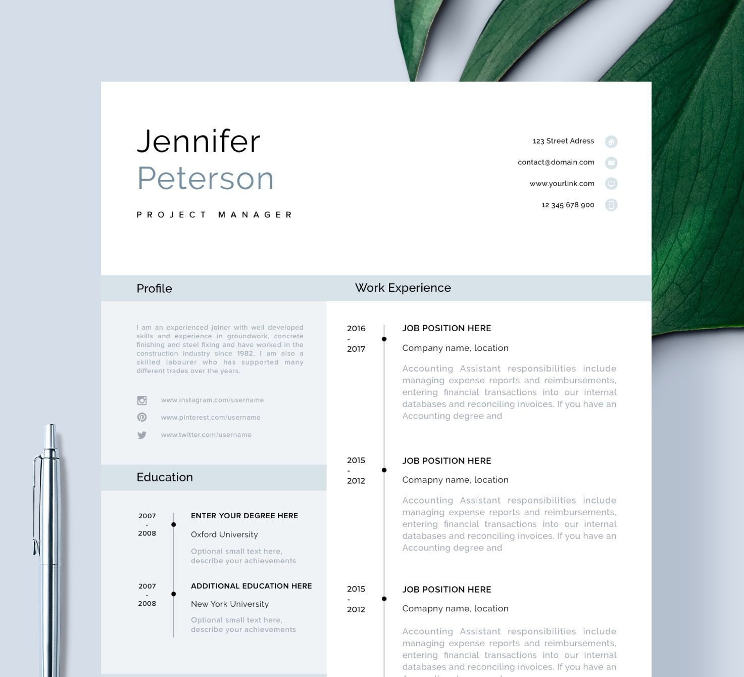 Modern Resume Template Cv Template Cover Letter Etsy Modern Resume Template Resume Template Cv Template