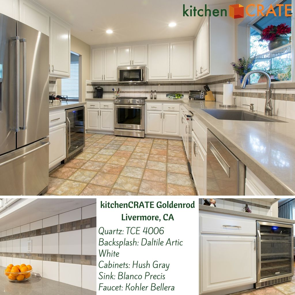 Kitchencrate alexia way modesto ca countertops msi cascade cool tones accent tiles on the backsplash and new quartz countertops bring this 90s dailygadgetfo Images