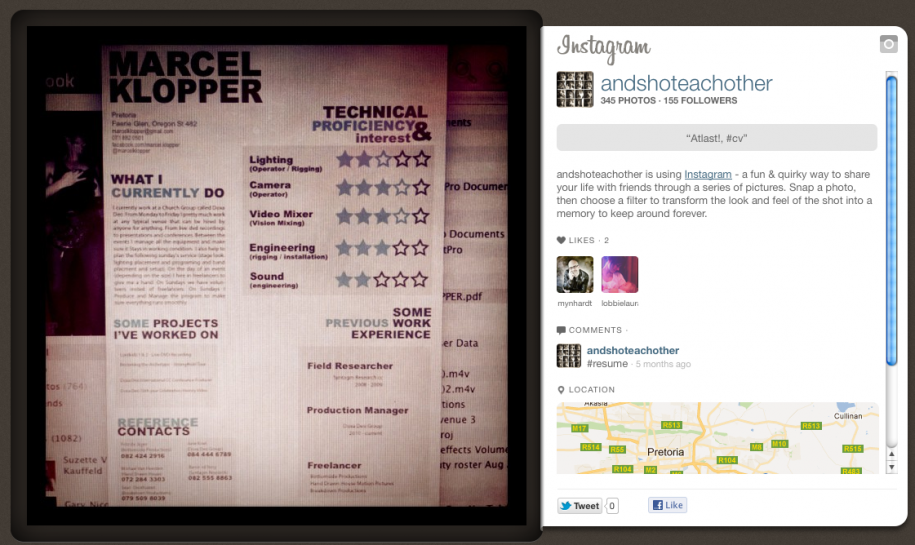 instagram cv template