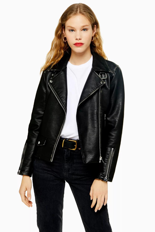 Washed Black Faux Leather Biker Jacket Jackets, Jacket