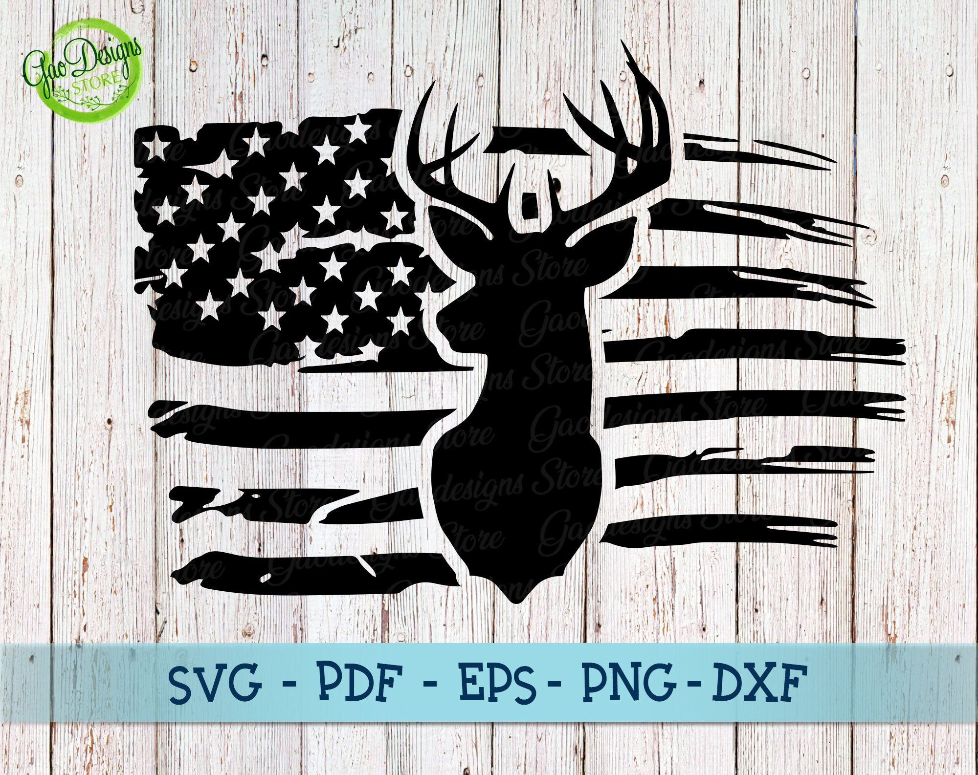 Distressed American Flag svg, deer hunting svg, hunting
