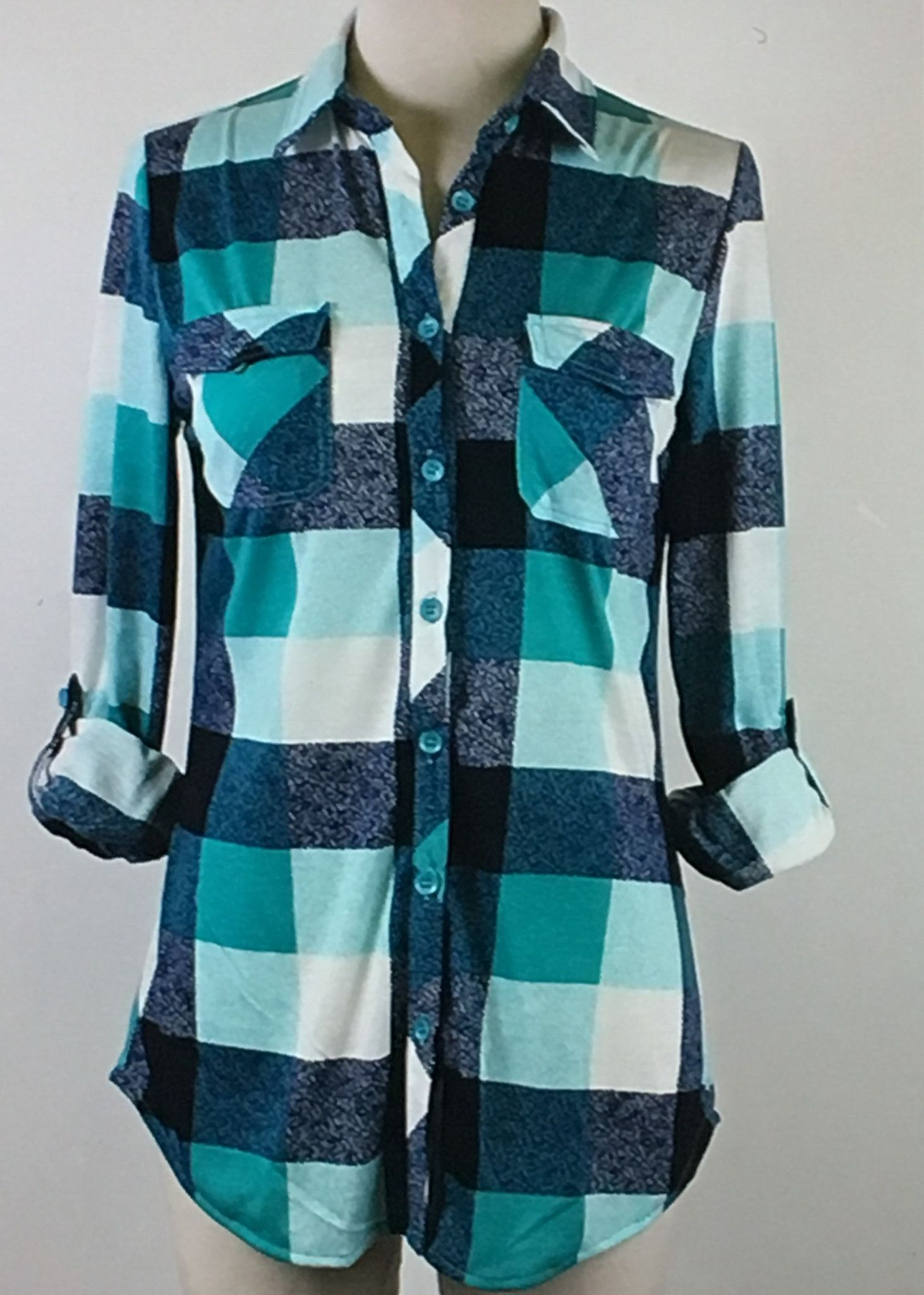 Women's Plaid Flannel Button Up Shirt Navy and Teal | Products ...