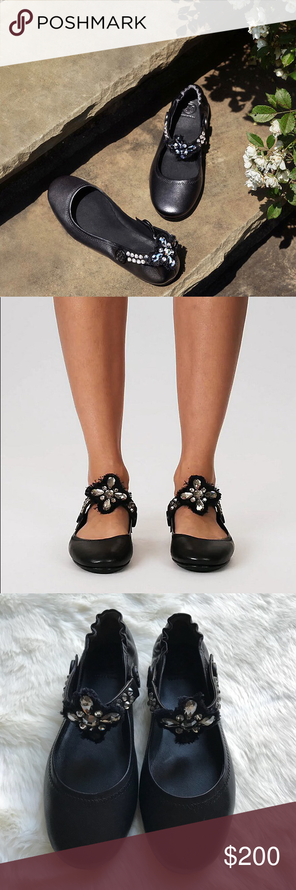 b3a3ecc2f63594 Tory Burch Minnie Embellished Two Way Ballet Flats •Ballet flats with an  embellished and logo-accented strap that can be positioned in the front