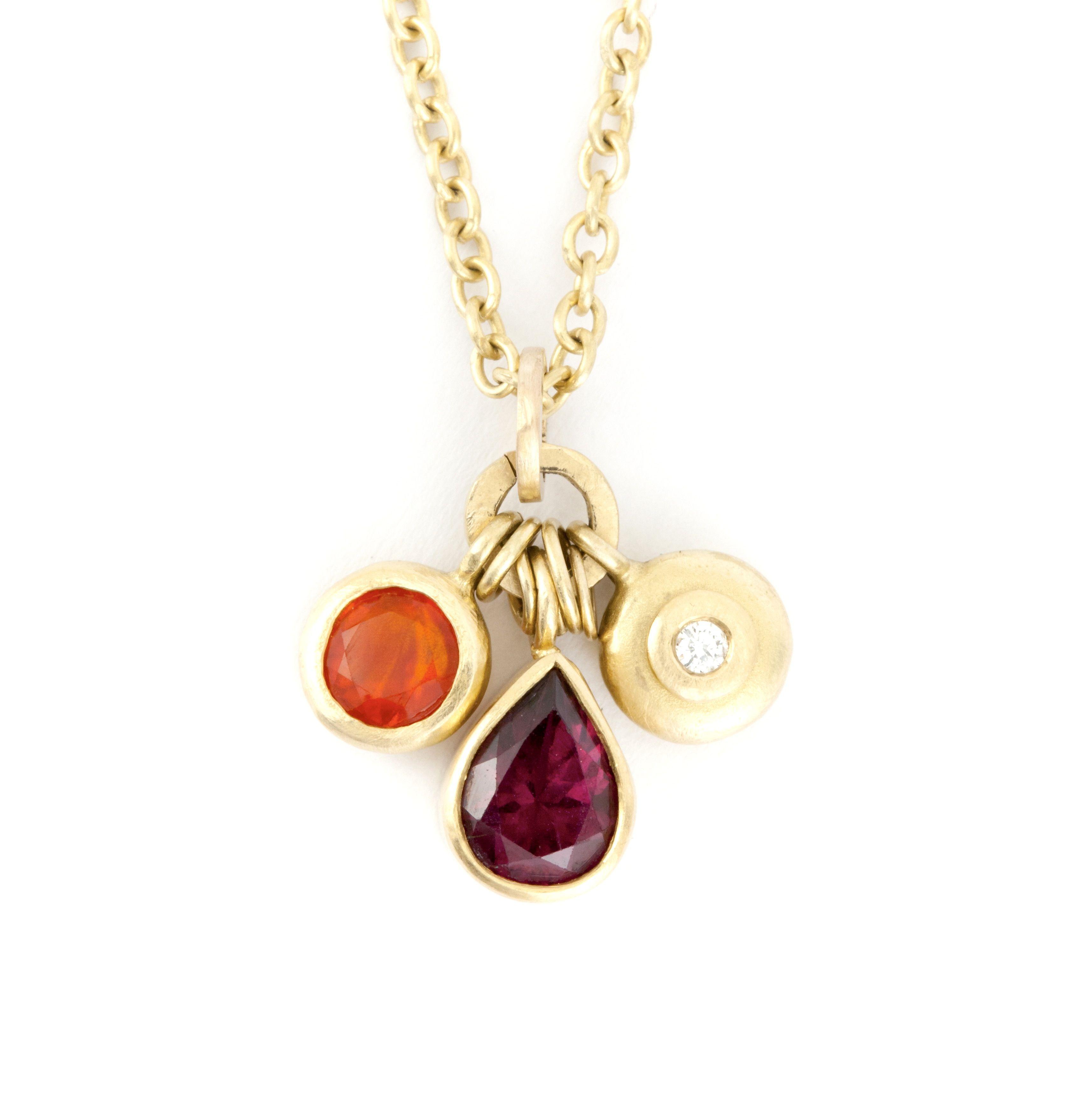 Fleur 18k Gold Pendant With Mexican Fire Opal Raspberry Garnet