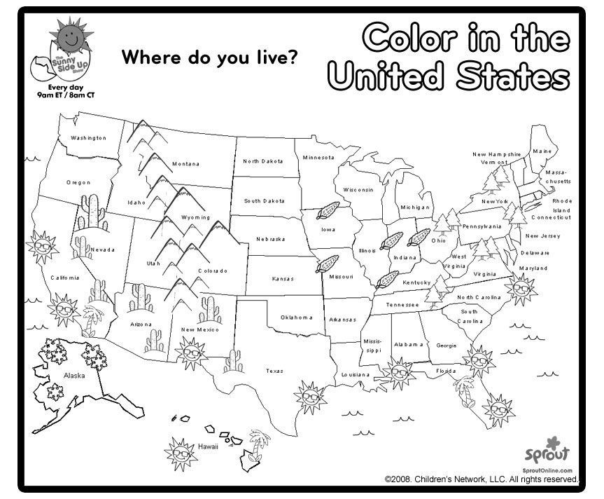 US Map Coloring Page | Social studies/ Map Skills | Teaching