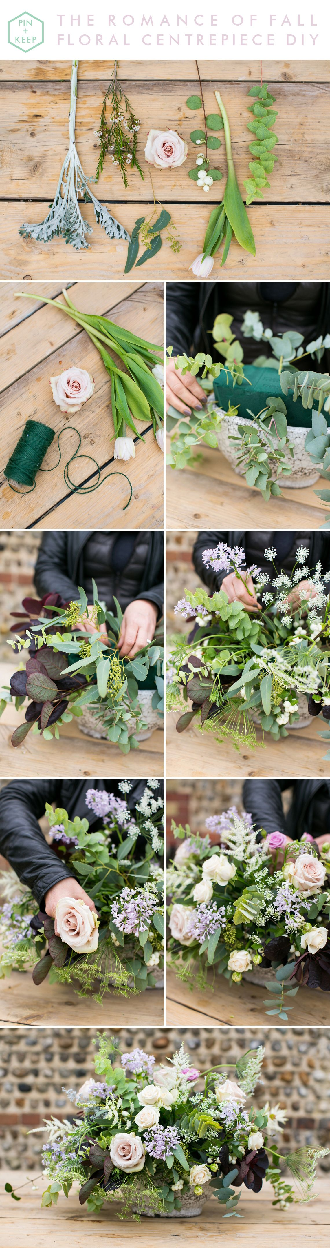 How to create a romantic muted pastel floral centrepiece for autumn