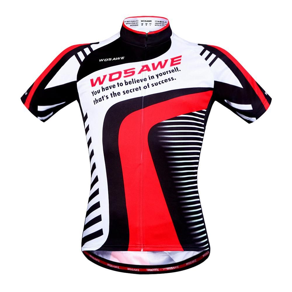 28b95c40d WOSAWE Men s Cycling Shirt Full Zipper Bicycle Short Sleeve Jersey ...
