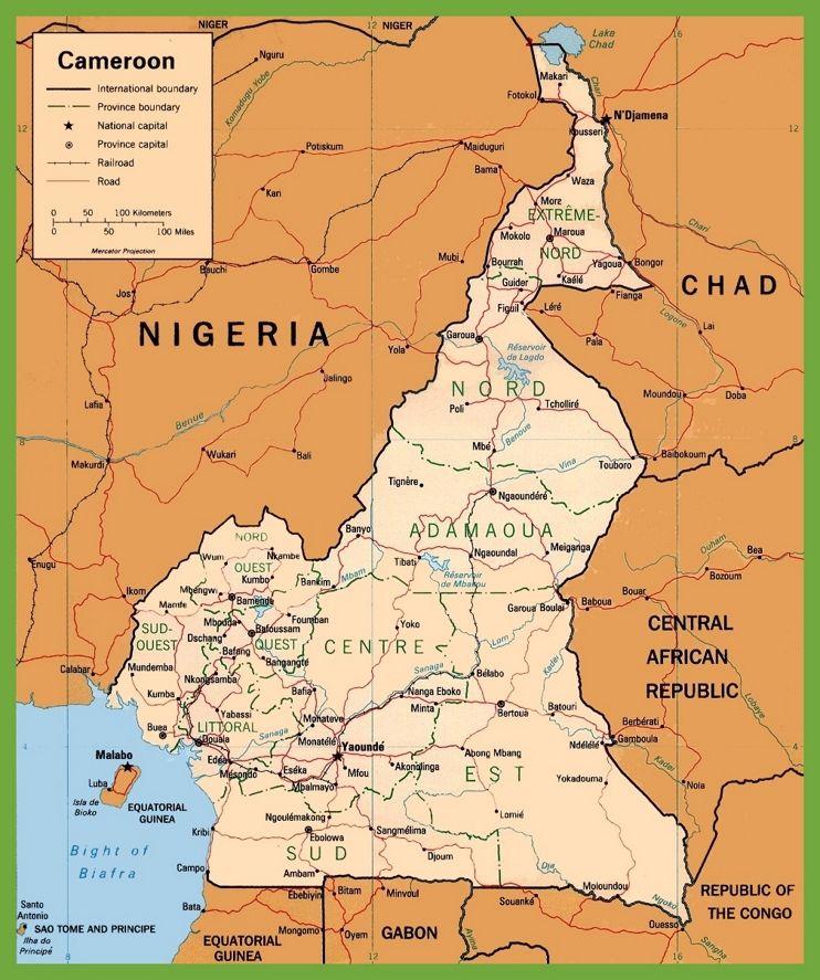 Cameroon political map   Maps   Pinterest   Africa
