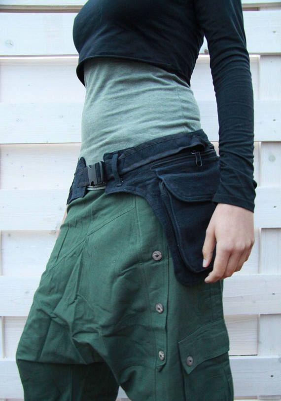 Black waist bag psy hip belt festival hippie gypsy ethno psy trance ...