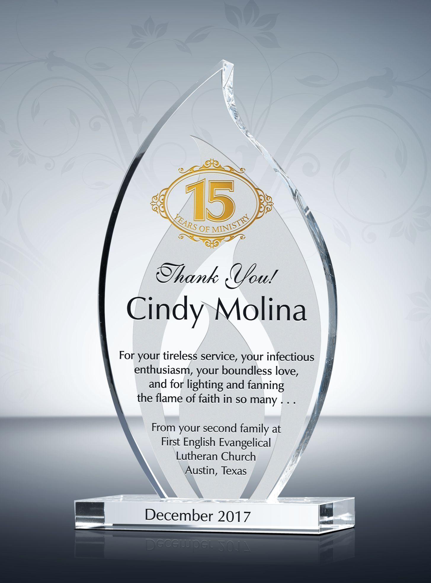 Flame Shaped Long Service Award Plaque Award Plaques Service Awards Employee Recognition Awards
