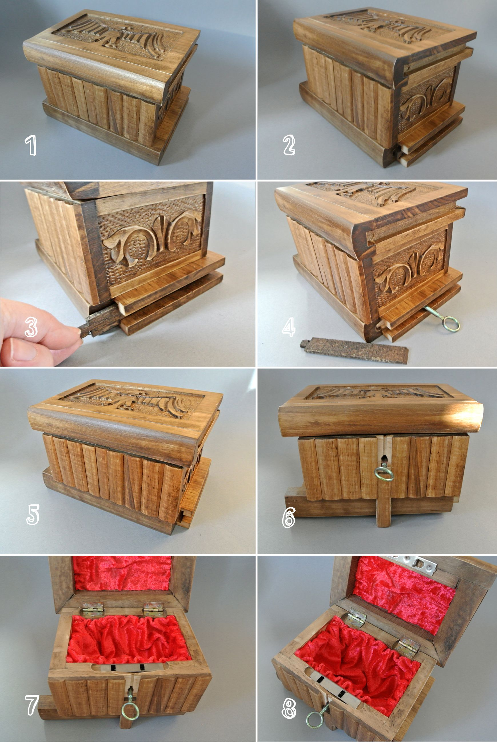 Handmade eagle motif wooden puzzle box magic trick case
