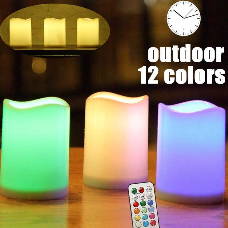 Outdoor Flameless Pillar Candles Decorative 3 X 4 Battery Operated Weatherproof Candles With Remote Co Flickering Candles Candle Decor Flameless Pillar Candle