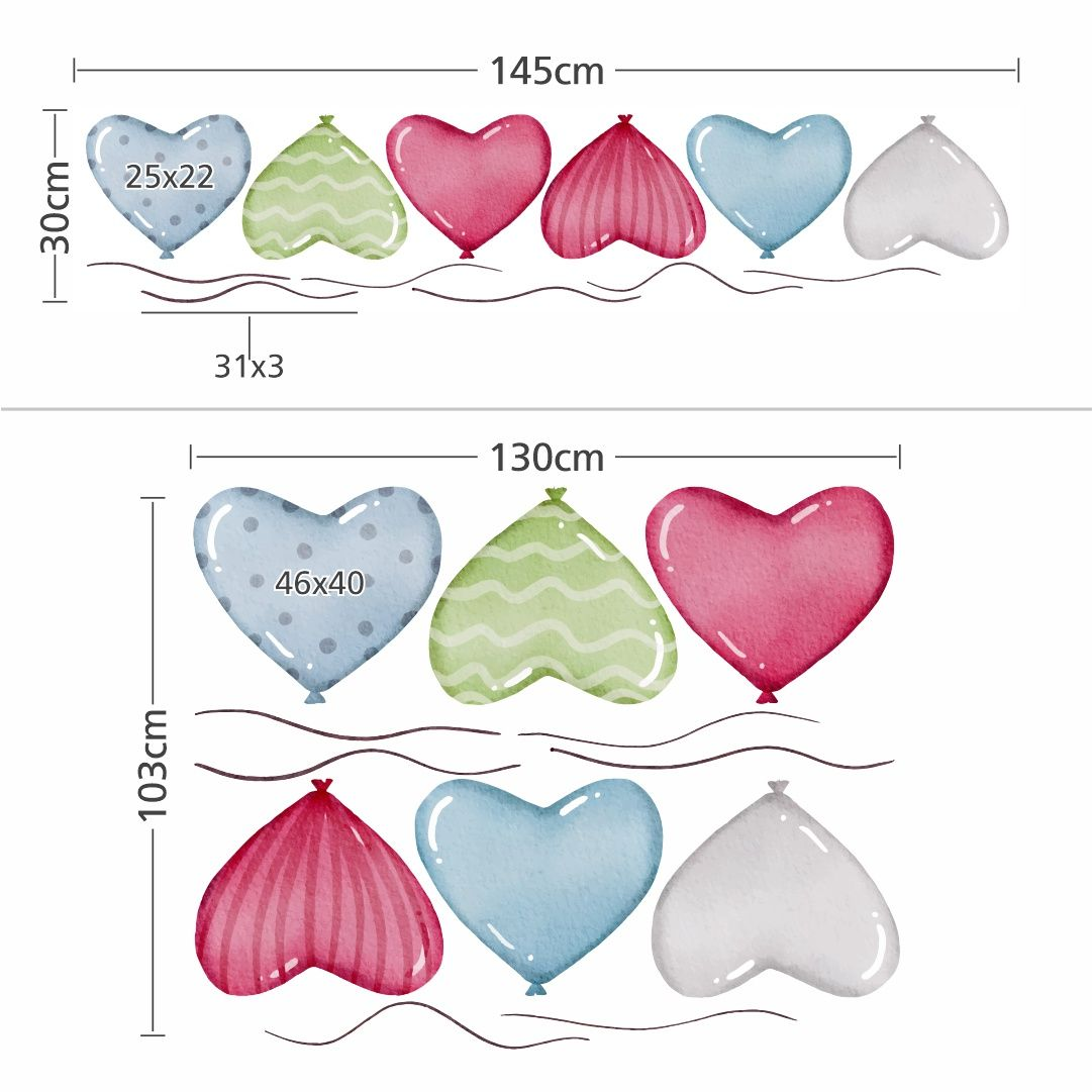 Stickers – Set With Balloons Hearts