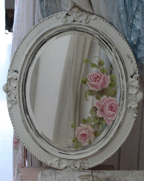 Hand Painted Roses Mirror Antique Wall Art Vintage Mirror Joanne Coletti Shabby Chic Flowers Rose Mirror Hand Painted Roses