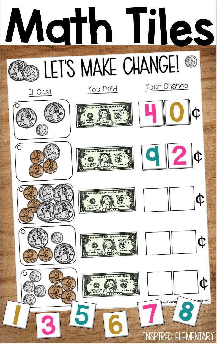 Math Tiles Making Change Money Math Math Center Activities Math [ 1158 x 730 Pixel ]