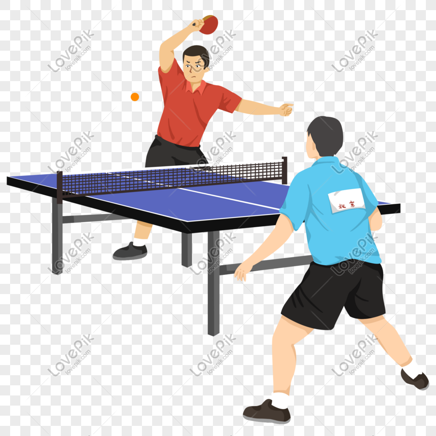 Pertandingan Tenis Meja Kartun Angin Datar Yang Ditarik In 2021 Tennis Match How To Draw Hands Table Tennis