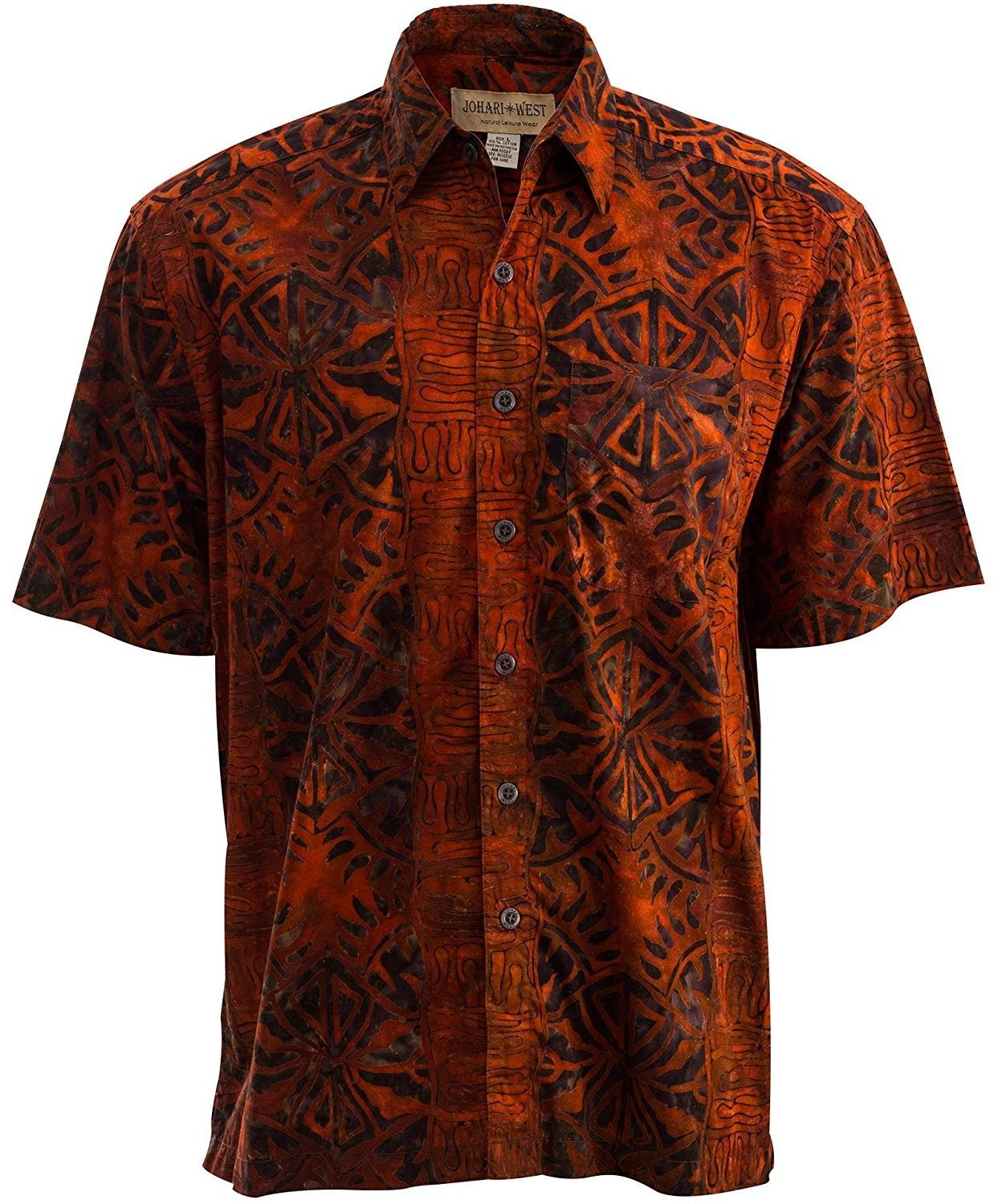Geometric Forest Tropical Hawaiian Batik Shirt By