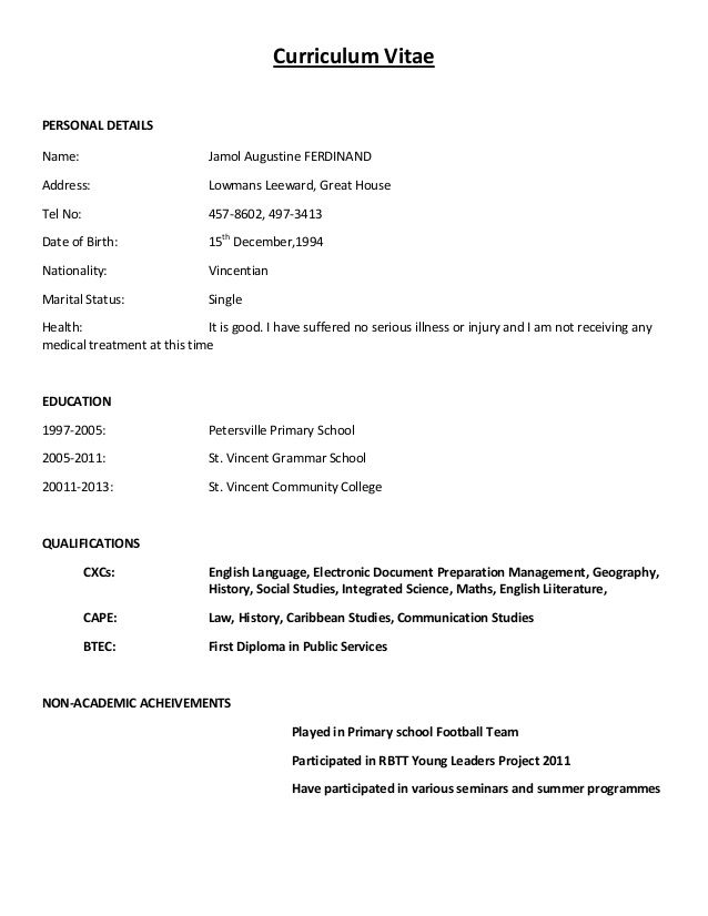 simple curriculum vitae sample