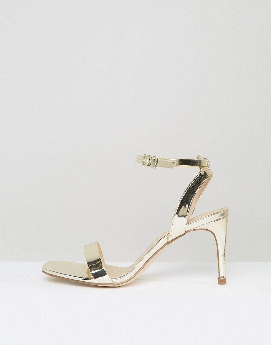 a9cf6fef2af ASOS HIDEAWAY Wide Fit Heeled Sandals - Gold