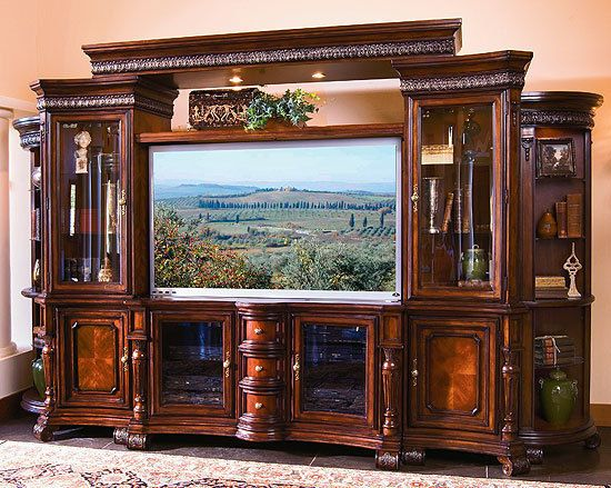I Love This Look Elegant Wall Unit Solid Wood Entertainment