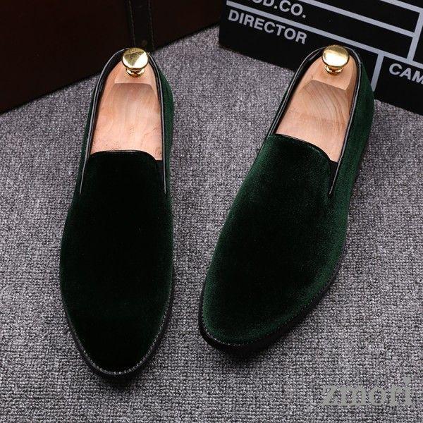 Green Velvet Mens Oxfords Flats Loafers Dress Shoes  Mens loafers