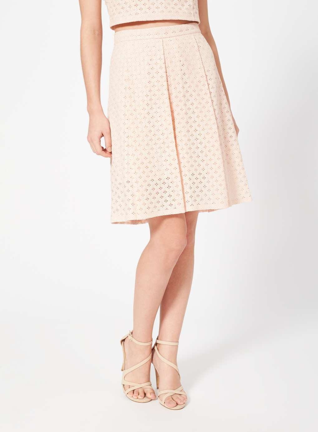 a10826d59a Petites Blush Lace Midi Skirt - Skirts - Clothing - Miss Selfridge