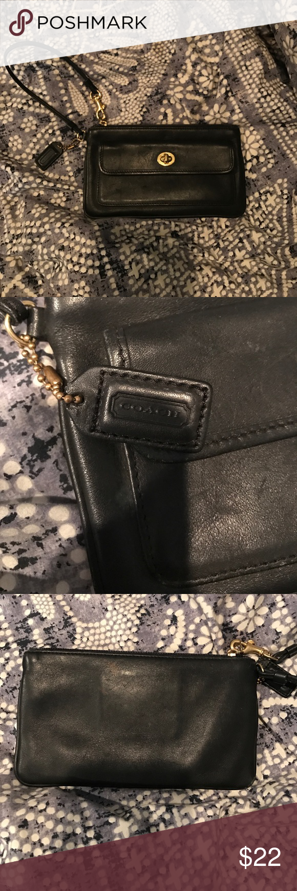 Coach wristlet Good condition. Slight stain on back as seen in picture. Removable strap Coach Bags Clutches & Wristlets